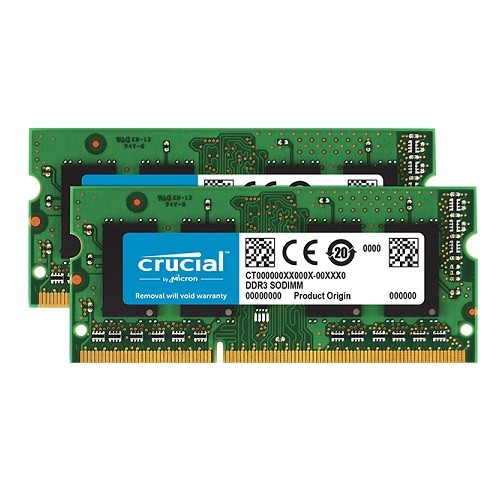 Crucial 8GB Kit (4GBx2) DDR3 1600 MT/s (PC3 - 12800) CL11 SODIMM 204-Pin 1.35V/1.5V Notebook Memory Modules