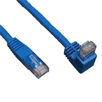 TrippLite 3ft Cat6 Gigabit Right Angle Dwn to Straight Patch Cable Blue 3' (N204-003-BL-DN)