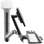 StyleView Sit-Stand Combo System With Medium Silver CPU Holder - Mounting kit (articulating arm, wall track mount) for LCD display / keyboard / mouse / barcode scanner / CPU (Lift and Pivot) - plastic, aluminum - screen size: up to 24""