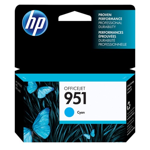 HP 951 Cyan Officejet Ink Cartridge - can be used with the HP Officejet Pro 8600 series