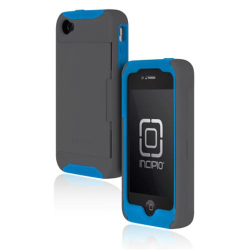 Incipio Stowaway Credit Card Case for iPhone 4/4S - Dark Gray/Blue