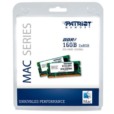 Patriot MemoryMac Series - 16GB (2 x 8GB) PC3-10600 (1333MHz) SODIMM Kit(PSA316G1333SK)