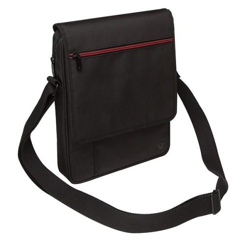 "V7 Premium Messenger Bag for iPad & Tablets up to 10.1"" - Black with Red Accent"