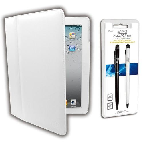 Adesso Case and 2-in-1 Stylus Pen for iPad & iPad 2 - White
