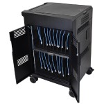 PowerShuttle Laptop Management Cart - Cart for 20 notebooks / 1U switch - steel, ABS plastic - black - screen size: 15.6""