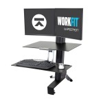 WorkFit-S Dual with Worksurface+ - Stand (tray, desk clamp mount, pivot, column, crossbar) for 2 LCD displays / keyboard / mouse - black, polished aluminum - screen size: up to 24""