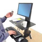 WorkFit-S Single LD with Worksurface+ - Stand (tray, desk clamp mount, pivot, column) for LCD display / keyboard / mouse - screen size: up to 24""