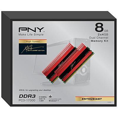 PNY8GB (2X4GB) PC17000 2133MHz DDR3 SDRAM 240-pin Cas Latency 10 Desktop Memory(MD8192KD3-2133-X10)