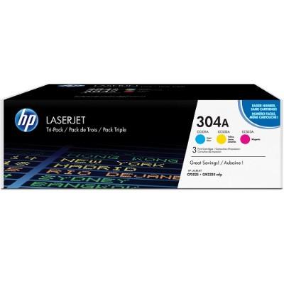 HP304A 3-pack Cyan/Magenta/Yellow Original LaserJet Toner Cartridges with ColorSphere Toner(CF340A)