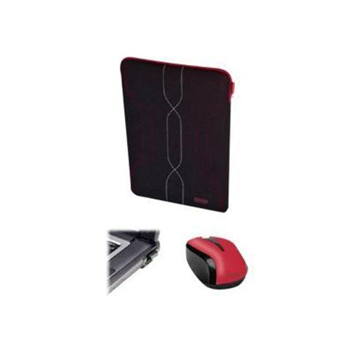 "Targus 16"" Pulse Sleeve - Black/White/Red with Targus Wireless Optical Laptop Mouse - Red"