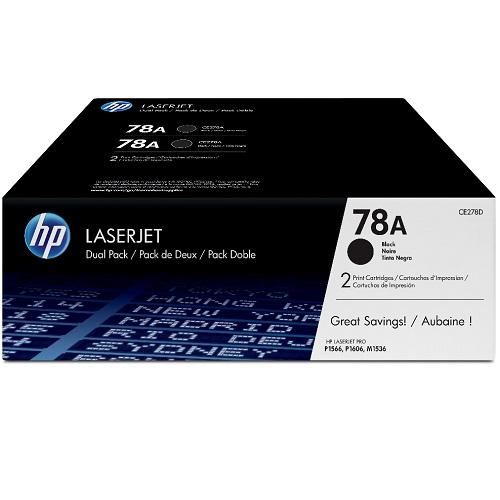 HP 78A Black Dual Pack LaserJet Toner Cartridge with Smart Printing Technology