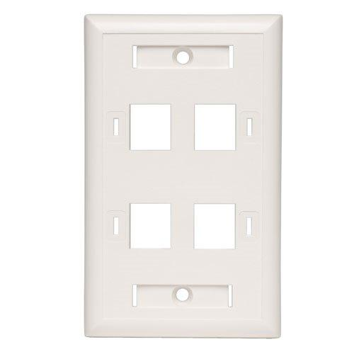 TrippLite Quad Outlet RJ45 Universal Keystone Face Plate / Wall Plate - faceplate