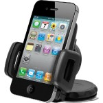 Universal Car Windshield Mount Holder for Smartphones / iPhone - Black