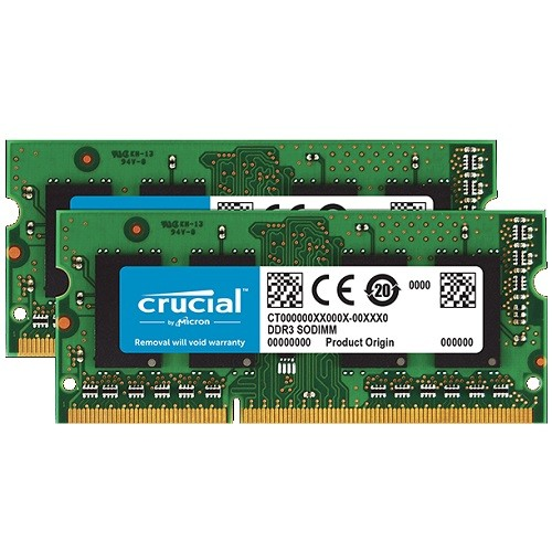 Crucial 4GB KIT (2GBX2) DDR3 1333 MT/S (PC3-10600) CL9 SODIMM 204PIN 1.35V/1.5V FOR MAC