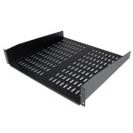 2U 16in Universal Vented Rack Mount Cantilever Shelf - Fixed Server Rack Cabinet Shelf - 50lbs / 22kg - 16in Deep
