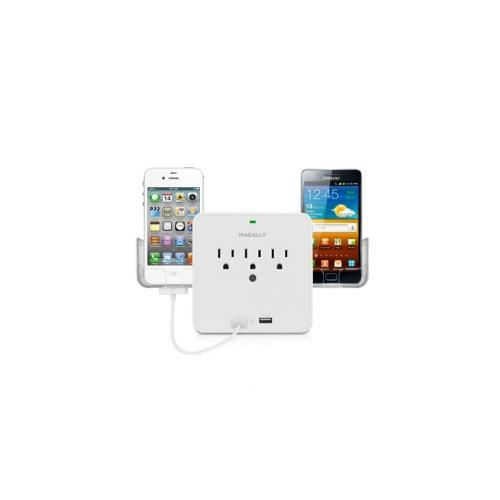 MacAlly Peripherals Power Outlet & Dual USB Charger With Phone Cradle For iPad, iPhone, iPod, Smartphones and Tablets