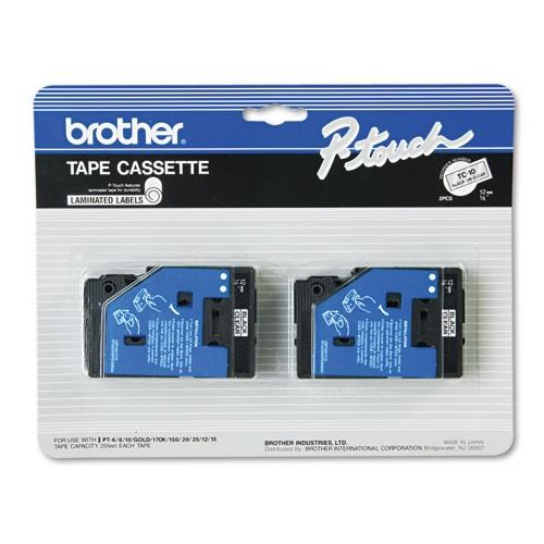 "Brother 2pk 1/2"" Black on Clear"