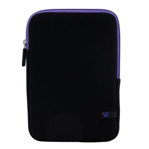 "V7 Ultra Protective Sleeve for iPad mini and Most Tablets up to 8"" - Black with Purple Accents"