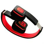 Foldable Bluetooth Headset - Wireless Music Streaming and Hands-Free Calling (Black Red)