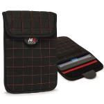 "NeoGrid iPad Mini 7"" Tablet Sleeve - Black with Red Stitching"