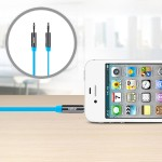 MIXIT Aux Cable - Audio cable - stereo mini jack (M) to stereo mini jack (M) - 3 ft - blue - flat - for Apple iPhone/iPod