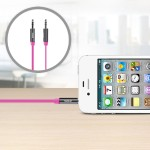 MIXIT Aux Cable - Audio cable - stereo mini jack (M) to stereo mini jack (M) - 3 ft - pink - flat - for Apple iPhone/iPod