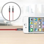 MIXIT Aux Cable - Audio cable - stereo mini jack (M) to stereo mini jack (M) - 3 ft - red - flat - for Apple iPhone/iPod