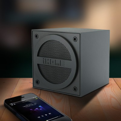 iHomeBluetooth Rechargeable Mini Speaker Cube in Rubberized Finish - Black(IBT16GC)