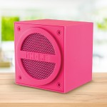 Bluetooth Rechargeable Mini Speaker Cube in Rubberized Finish - Pink