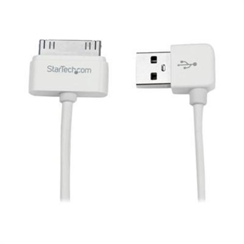 StarTech 1m (3 ft) Apple® 30-pin Dock Connector to Right Angle USB Cable for iPhone / iPod / iPad with Stepped Connector
