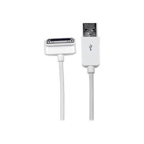 StarTech 2m (6 ft) Long Down Angle Apple 30-pin Dock Connector to USB Cable for iPhone / iPod / iPad with Stepped Connector