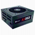 Corsair Memory AX860i - Power supply ( internal ) - ATX12V 2.31/ EPS12V 2.92 - 80 PLUS Platinum - AC 100-240 V - 860 Watt - active PFC - North America CP-9020037-NA