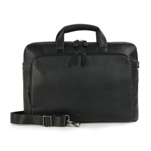"Tucano The ONE PREMIUM 15"" SLIM CASE, Full-grain leather with handles and adjustable, removable shoulder strap. Includes Anti-Slip and Secure Fit."