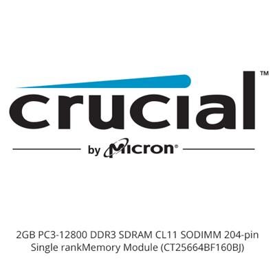 Crucial 2GB PC3-12800 DDR3 SDRAM CL11 SODIMM 204-pin Single rank Memory Module (CT25664BF160BJ)