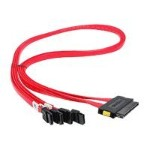SAS internal cable - SAS 6Gbit/s - 32 pin 4i MultiLane receptacle to 7 pin SATA receptacle - 2.5 ft - red