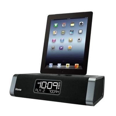 iHome iDL45 Dual Charging Stereo FM Clock Radio with Lightning Dock and USB Charge/Play for iPad/iPhone/iPod (IDL45B)