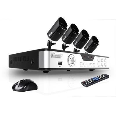 Citrix Sys4CH H.264 DVR & 4 CMOS 480TVL 30ft Day Night Outdoor Cameras and No Hard Drive(4019625-E6)