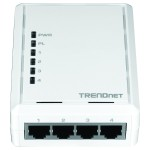 TRENDnet TPL-4052E - Bridge - 4-port switch - HomePlug AV (HPAV) - wall-pluggable TPL-4052E