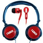 Naxa Electronics DJZ Ultra Super Bass Stereo Headphones + Earphones (2-in-1 Combo) - Red NE926RD