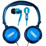 Naxa Electronics DJZ Ultra Super Bass Stereo Headphones + Earphones (2-in-1 Combo) - Blue NE926BL