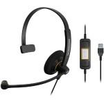 SC 30 USB ML - Call Center - headset - on-ear - black with orange highlights