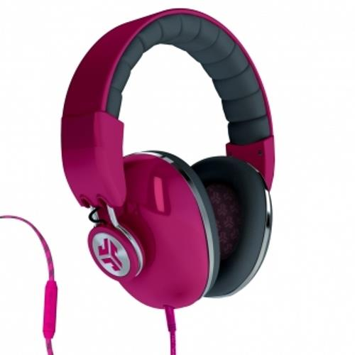 Jlab Audio Bombora Over-The-Ear Headphones with Mic - Passionfruit Pink / Grigio Gray