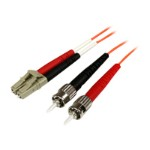 1m Fiber Optic Cable - Multimode Duplex 50/125 - OFNP Plenum - LC/ST - OM2 - LC to ST Fiber Patch Cable