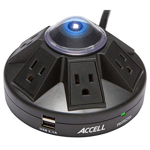 Accell Powramid Power Center and USB Charging Station - surge suppressor - 1800 Watt
