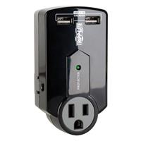 TrippLite Travel Surge 3 Outlet USB Charger Tablet Smartphone Ipad Iphone - Surge protector - 15 A - AC 120 V - 1800 Watt - output connectors: 1 - black SK120USB