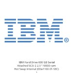 "IBM Hard Drive 600 GB Serial Attached SCSI 2 2.5"" 10000 rpm Hot Swap Internal 00w1160-01-SEC"