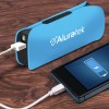 Aluratek 2600 mAh Portable Battery Charger for iPhones and other Smartphones with LED Flashlight - Sky Blue