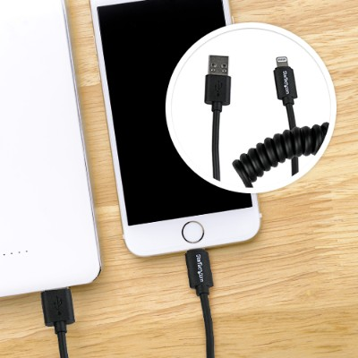 StarTech0.3 Meter (1 Foot) CoiledLightning Connector to USB Cable for iPhone, iPad & iPod - Apple Certified - Black(USBCLT30CMB)