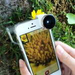 4-in-1 Lens System for iPhone 5 / 5s: Fisheye, Wide-Angle, 10x Macro and 15x Macro - Silver Lens / White Clip