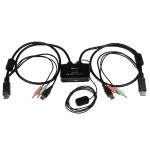 2 Port USB DisplayPort Cable KVM Switch w/ Audio, Remote Switch - KVM with DisplayPort - Dual Port DisplayPort KVM